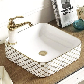 Ceramic washbasin on a countertop