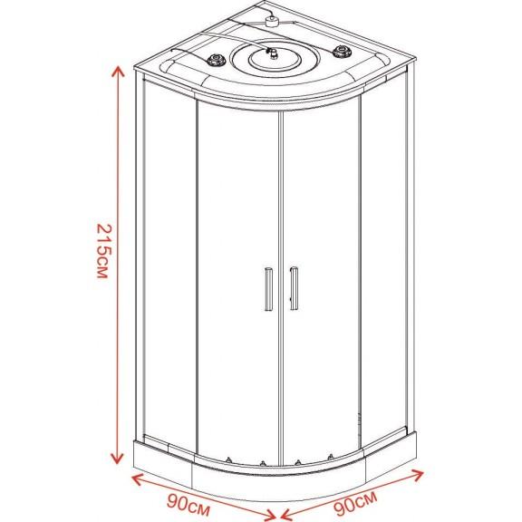 Хидромасажна кабина ЧАР  ICSH  888LT NEW EASY ASSEMBLE  - Хидромасажни душ кабини