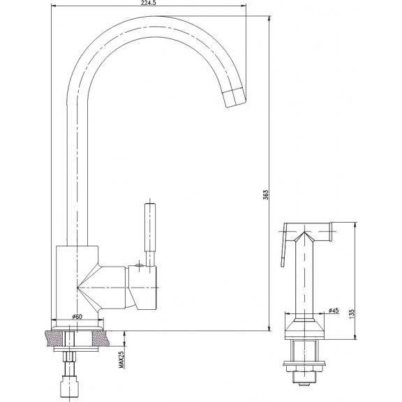 Месингов Смесител »   ICF 719612B  - Кухненски Смесители с подвижен/ изтеглящ се душ